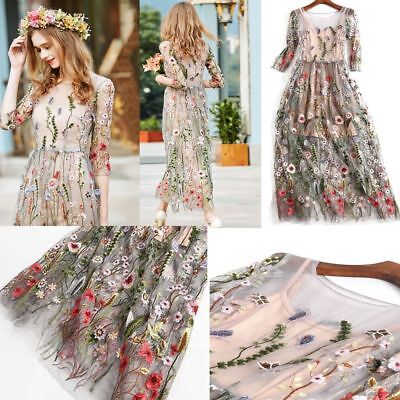 Women's Party Skirts Bohemian Flower Embroidered Lace Long Sheer Boho Mesh Dress