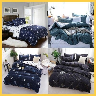 Duvet Quilt Doona Cover Bedding Set Single Double Queen Size Bed Kids Star Space