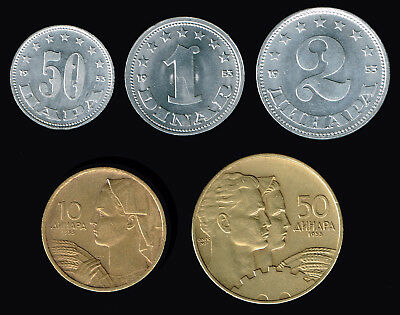 YUGOSLAVIA (FEDRAL PEOPLES REPUBLIC):- 5 different  20th. century coins AP6703