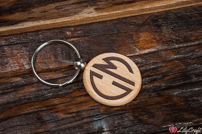 Monogram Key Chain. Personalised Laser Engraved Wooden Key ring.