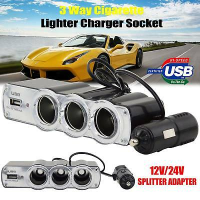 24/12V Car Cigarette Lighter 3 Port Socket Splitter USB Power Adapter Charger UK