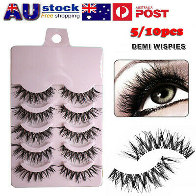 AU 10 Pairs Fake Eye Lashes Long Thick Natural False Eyelashes Set Mink Makeup