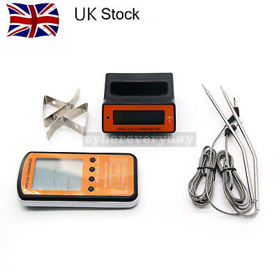 Wireless LCD Remote Dual 2 Probe Meat Thermometer For BBQ Smoker Grill Oven UK