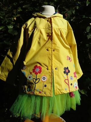 3-5Y Girl Waterproof Flower Hoodie Jacket Coat Raincoat Windbreaker Outwear