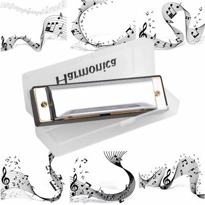 Stainless Steel 20 Tone Diatonic Country 10 Holes Blues Key Of C Harmonica