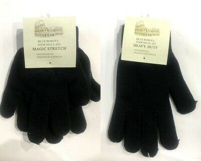 Mens Womens Knitted Gloves Winter Warm Gloves Strechable Basic Plain Black