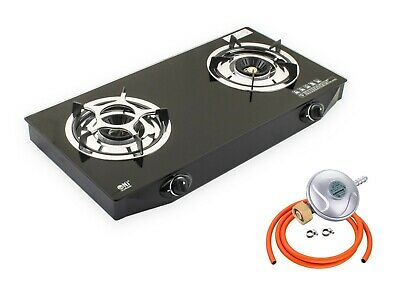 Portable Gas Stove 2 Double Burner Cooktop Hob Indoor Caravan Cooker NGB-S2 UK