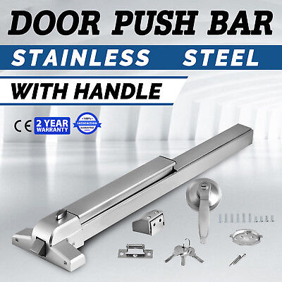 Door Push Bar + Handle Panic Exit Device Lock Safe HQ Rail Rim Hardware Latches