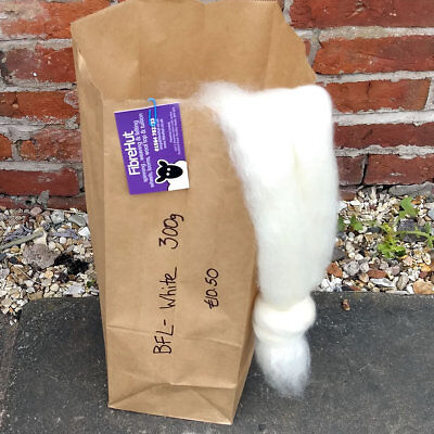 Blueface Leicester (BFL) 300g bag of natural white combed wool top