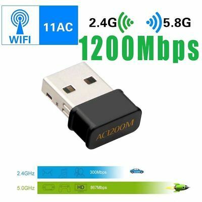 Mini Wireless Dual Band 1200Mbps 802.11AC USB Wifi Adapter Dongle Network Card