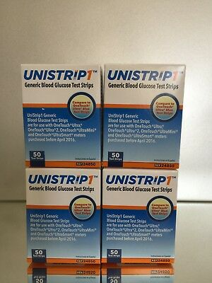 UniStrip Glucose Test Strips 200 ct Generic For One Touch Ultra EXP 02/2021