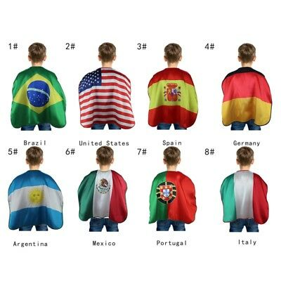 2018 Russia World Cup Shawl Flag Football Fans Kids Cloak  Holiday Cape 70x70cm