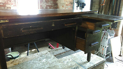 1950's single pedestal office desk. Oak
