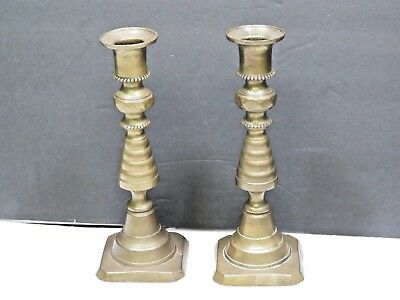 Antique Victorian Pair Brass Candle Holder Push UP Beehive Candlesticks England