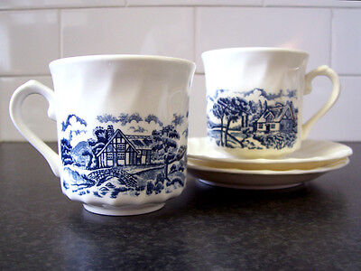 2x VINTAGE CHURCHILL'S ENGLISH CHINA CLASSIC BLUE & WHITE COTTAGE CUPS & SAUCERS