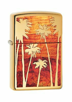 Zippo Palm Tree Sunset Windproof Lighter - High Polished Chrome