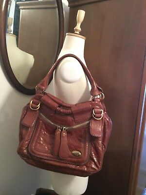 Chloe Tan Brown Patent Leather Shoulder Bag w 3 compartments and front pocket