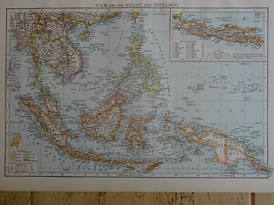 Victorian Map 1896 of SIAM & the MALAY ARCHIPELAGO The Times Atlas 1st Gen