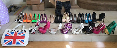 Size 5.5 Lot of 20 pair ladies high heel shoes strappy kitten platform pump tote