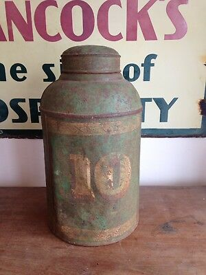 Antique English Tole Ware Tea Shop Canister Caddy W Parnall Bristol Toleware