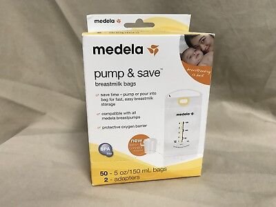 Medela Pump and Save Breast Milk Bags 50 - 5oz / 150mL Bags 2 Adapters
