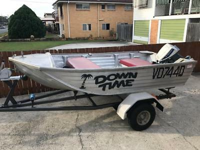 Burmuda Aluminium Fishing Boat Tinnie 15Hp Evinrude Motor On Trailer Good Cond