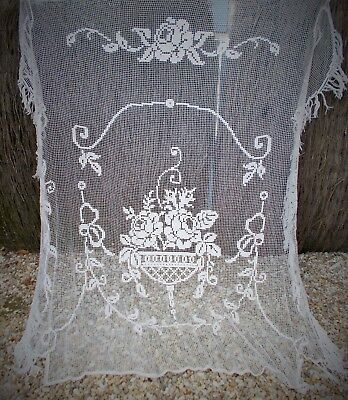 French Antique Filet Lace Bedspread Great Design Circa 1900 Superb