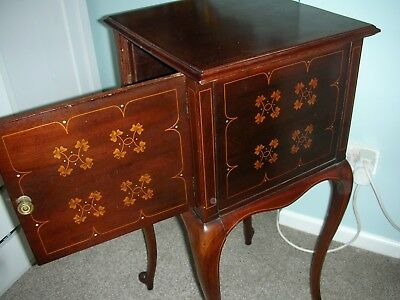 Edwardian antique cabinet bedside table storage inlaid marquetry mahogany c 1910