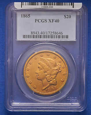 1865 $20 Liberty Double Eagle Gold Coin PCGS XF 40 Last Year of Civil War