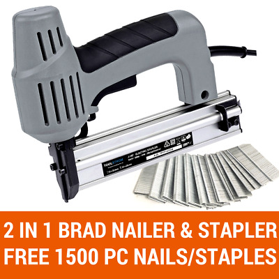2 In 1 Brad Nailer & Stapler Electric Combination Staple Gun Free 1500Pc Nail