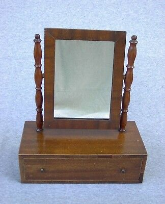 Shaving Mirror Antique Lexington Kentucky Made Wood 1 Drawer Dressing Vanity 17""