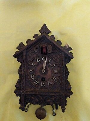 VINTAGE 1930S SMALL LUX CUCKOO CLOCK For Parts