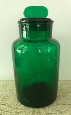 "Vintage Large Green Glass APOTHECARY JAR Canister Italy Ground Lid 10"" Bubbles"