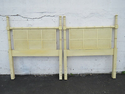 Hollywood Regency Faux Bamboo Painted Twin Size Pair of Headboards by Dixie 8940