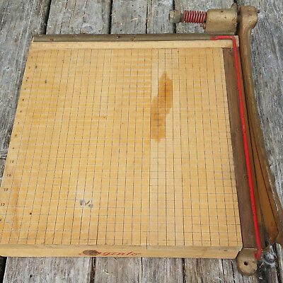 Vintage Ingento #5 Wood And Brass 15 Inch Paper Cutter