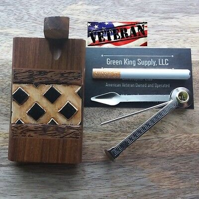 4'' Dark Wood Dugout Diamond w/ 3'' Metal One Hitter Pipe and Cigar Tamper Tool