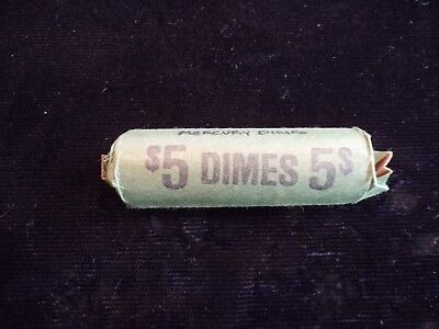 Roll of 50 Old Silver Mercury Dimes in Vintage $5.00 Dime Roll - Lot #87