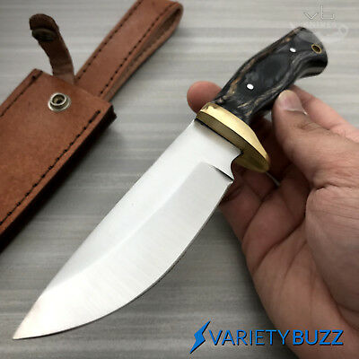 "9"" FULL TANG SURVIVAL HUNTING SKINNER KNIFE Tactical Fixed Blade w/ Leather WOOD"