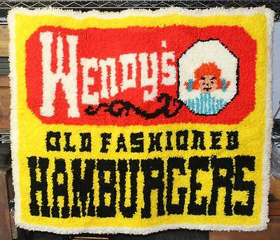 c.1970 Rare Vintage Wendy's Hamburgers Latch Hook Rug Wall Hanging - Quincy, IL