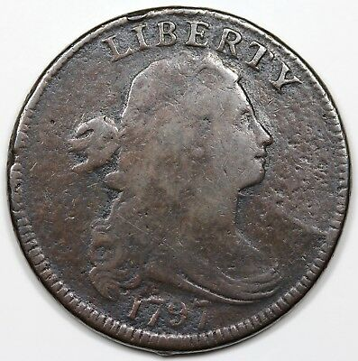 1797 Draped Bust Large Cent, Reverse of '97, Stems, VG+ detail