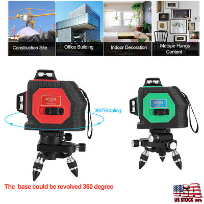 3D Green self Laser Level 12 Lines 360° Horizontal & Vertical Cross Build Tool