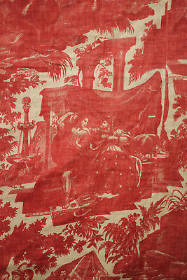 Antique French Toile de Rouen Life of Joseph ~ quilted textile c1810-1820 red