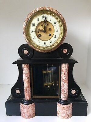 French Marble Mantel Clock A.D Mougin Black Slate C.1890