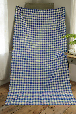 Antique French Vichy check fabric curtain drape BLUE panel 1950's vintage heavy