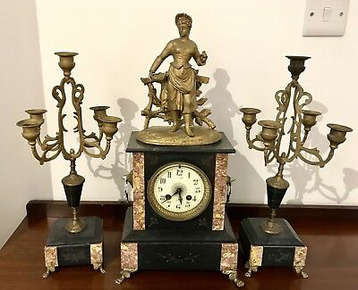 Antique French A.D Mougin Marble Mantel Clock In Brass/Bronze With Candelabra