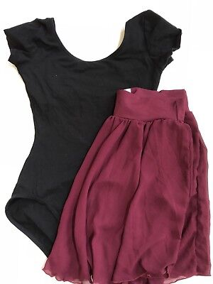 Capezio Balera Dance Outfit Two-Piece Black Leotard And Burgundy Skirt Small