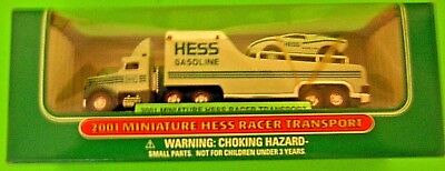 2001-Hess-Miniature-Racer and Transport Truck-New-in-Box  ( FREE SHIPPING)