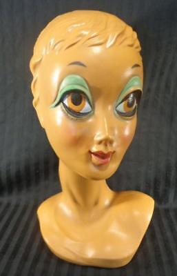 Vintage 1960's Female Antique TWIGGY Mannequin Head, Biba DECO Gorgeous clean