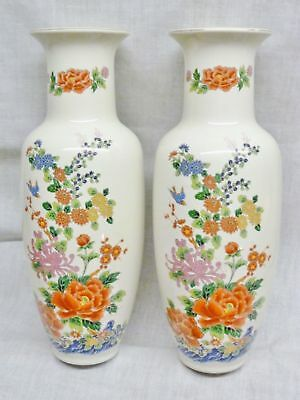 lovely pair of chinese vases oriental flowers birds tall pretty ceramic pair
