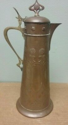 """Antique Arts/crafts Large Copper 14 1/4"""" High Lidded Pitcher Marked And Numbered"""